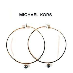 Michael Kors Rose Gold Pearl Large Hoop Earrings